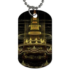 Fractal City Geometry Lights Night Dog Tag (one Side) by Celenk