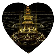 Fractal City Geometry Lights Night Jigsaw Puzzle (heart) by Celenk