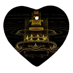 Fractal City Geometry Lights Night Heart Ornament (two Sides) by Celenk