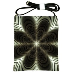 Fractal Silver Waves Texture Shoulder Sling Bags by Celenk