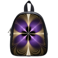 Fractal Glow Flowing Fantasy School Bag (small) by Celenk