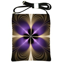 Fractal Glow Flowing Fantasy Shoulder Sling Bags by Celenk
