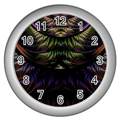 Fractal Colorful Pattern Fantasy Wall Clocks (silver)  by Celenk