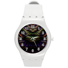 Fractal Colorful Pattern Fantasy Round Plastic Sport Watch (m) by Celenk