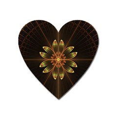 Fractal Floral Mandala Abstract Heart Magnet