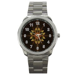 Fractal Floral Mandala Abstract Sport Metal Watch by Celenk