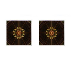 Fractal Floral Mandala Abstract Cufflinks (square)