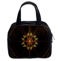 Fractal Floral Mandala Abstract Classic Handbags (2 Sides) by Celenk