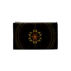 Fractal Floral Mandala Abstract Cosmetic Bag (small)  by Celenk