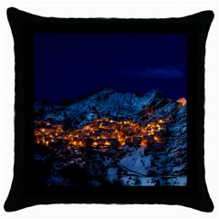 Castelmezzano Italy Village Town Throw Pillow Case (black) by Celenk