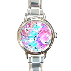 Background Art Abstract Watercolor Round Italian Charm Watch by Celenk