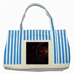 Fractal Circle Pattern Curve Striped Blue Tote Bag by Celenk