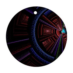 Fractal Circle Pattern Curve Round Ornament (two Sides) by Celenk