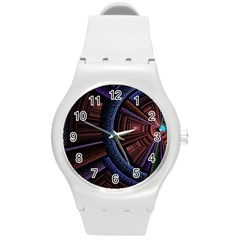 Fractal Circle Pattern Curve Round Plastic Sport Watch (m) by Celenk