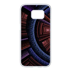 Fractal Circle Pattern Curve Samsung Galaxy S7 Edge White Seamless Case
