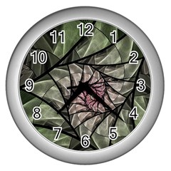 Fractal Flowers Floral Fractal Art Wall Clocks (silver)  by Celenk