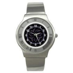 Fractal Abstract Purple Majesty Stainless Steel Watch
