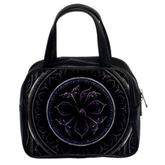 Fractal Abstract Purple Majesty Classic Handbags (2 Sides) by Celenk