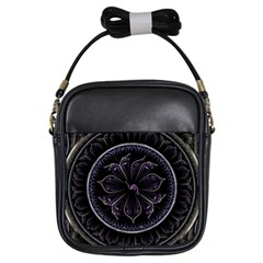 Fractal Abstract Purple Majesty Girls Sling Bags by Celenk