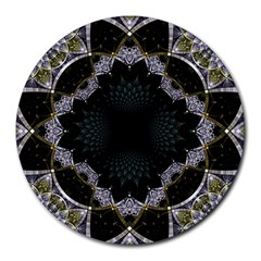 Fractal Aqua Silver Pattern Round Mousepads by Celenk
