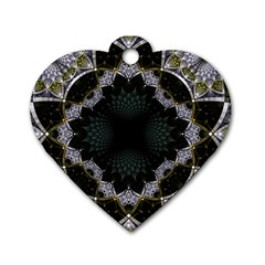 Fractal Aqua Silver Pattern Dog Tag Heart (one Side) by Celenk