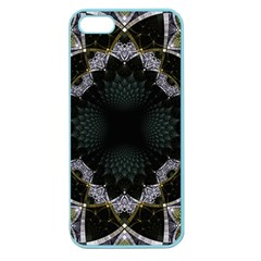 Fractal Aqua Silver Pattern Apple Seamless Iphone 5 Case (color) by Celenk