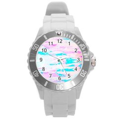 Background Art Abstract Watercolor Round Plastic Sport Watch (l) by Celenk