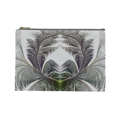Fractal White Design Pattern Cosmetic Bag (large)