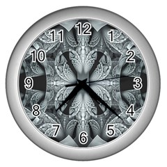 Fractal Blue Lace Texture Pattern Wall Clocks (silver)