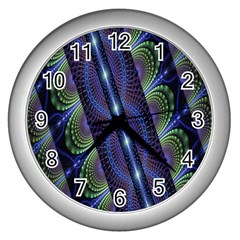 Fractal Blue Lines Colorful Wall Clocks (silver)