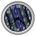Fractal Blue Lines Colorful Wall Clocks (Silver)  Front