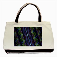 Fractal Blue Lines Colorful Basic Tote Bag (two Sides) by Celenk