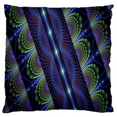 Fractal Blue Lines Colorful Large Cushion Case (one Side) by Celenk