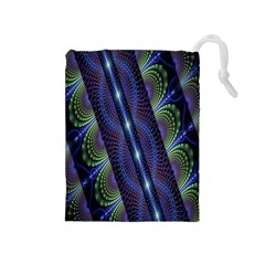Fractal Blue Lines Colorful Drawstring Pouches (medium)