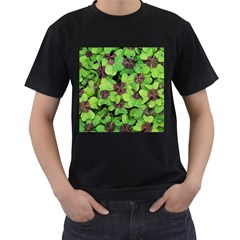 Luck Klee Lucky Clover Vierblattrig Men s T Shirt (black) (two Sided) by Celenk