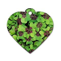 Luck Klee Lucky Clover Vierblattrig Dog Tag Heart (two Sides) by Celenk