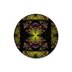 Fractal Multi Color Geometry Rubber Coaster (round)