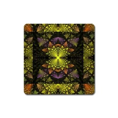 Fractal Multi Color Geometry Square Magnet