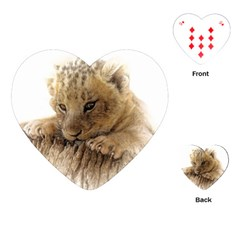 Lion Cub Close Cute Eyes Lookout Playing Cards (heart)