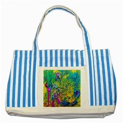 Background Art Abstract Watercolor Striped Blue Tote Bag by Celenk