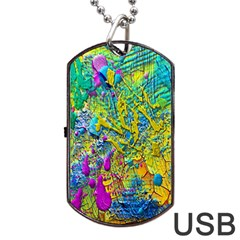 Background Art Abstract Watercolor Dog Tag Usb Flash (two Sides) by Celenk
