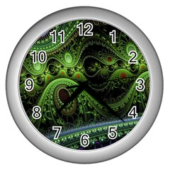 Fractal Green Gears Fantasy Wall Clocks (silver)  by Celenk