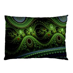 Fractal Green Gears Fantasy Pillow Case (two Sides)