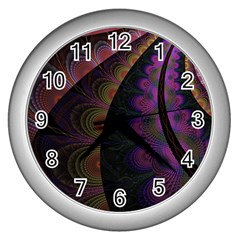 Fractal Colorful Pattern Spiral Wall Clocks (silver)  by Celenk