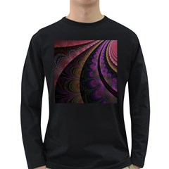 Fractal Colorful Pattern Spiral Long Sleeve Dark T-shirts by Celenk