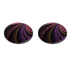 Fractal Colorful Pattern Spiral Cufflinks (oval)