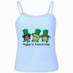 Happy St  Patrick s Day Girls Baby Blue Spaghetti Tank