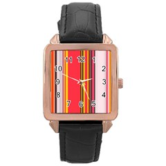 Abstract Background Pattern Textile Rose Gold Leather Watch