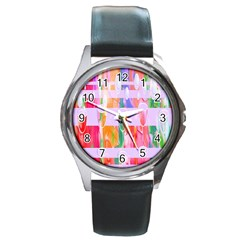 Watercolour Paint Dripping Ink Round Metal Watch by Celenk