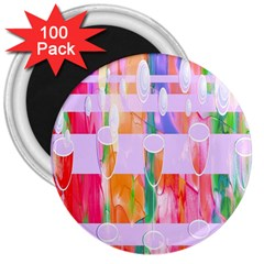 Watercolour Paint Dripping Ink 3  Magnets (100 Pack) by Celenk